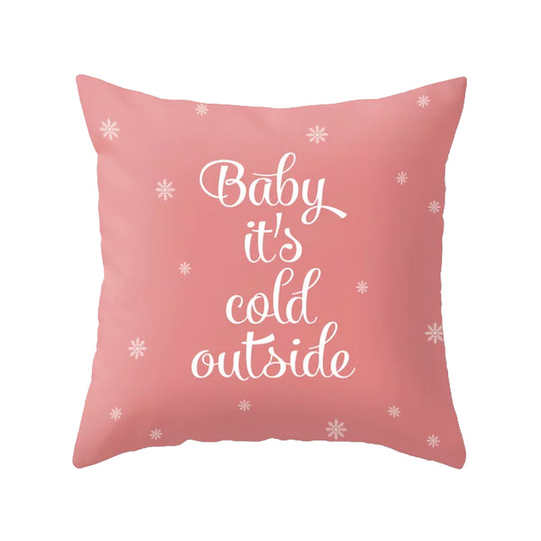 Snowflake. Pink Christmas cushion