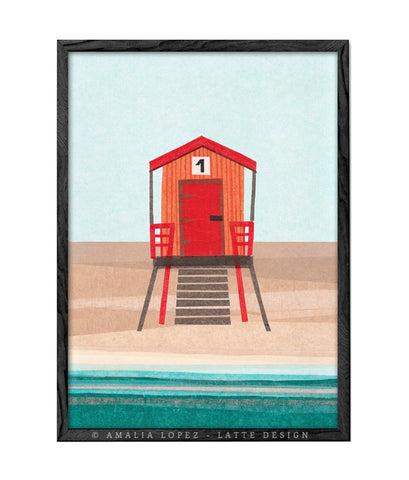 Red Beach hut 1. Collage