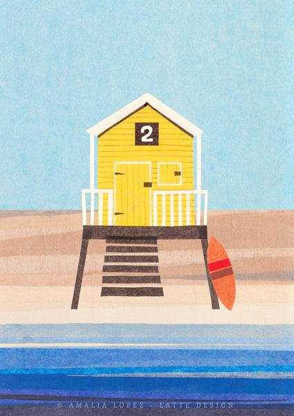 Yellow Beach hut 2. Collage