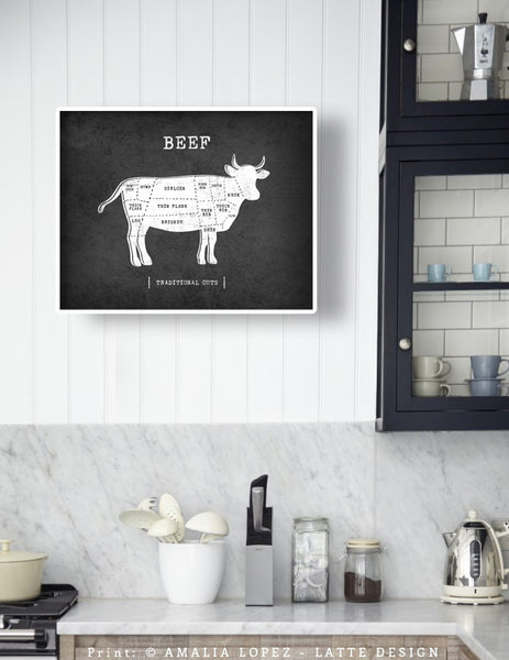 Beef Traditional butcher print. Black & white kitchen print