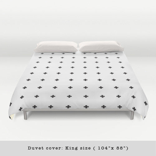 Swiss cross black and white duvet cover - Latte Design  - 1