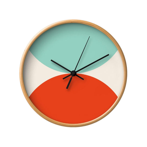 2 circles. Light blue and red geometric wall clock. - Latte Design  - 2
