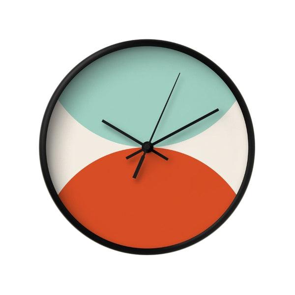2 circles. Light blue and red geometric wall clock. - Latte Design  - 1