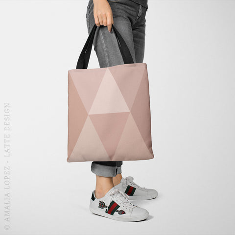 Blush pink geometric tote bag