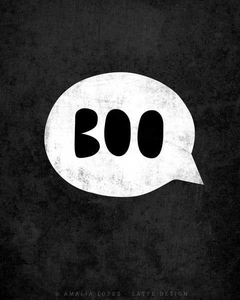 Boo. Orange Halloween print