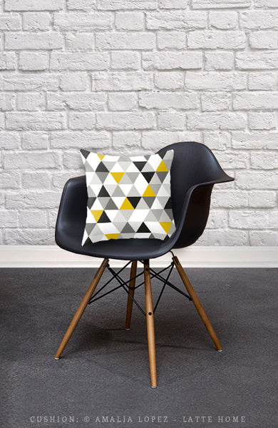 Triangles black, white and yellow pillow - Latte Design  - 2