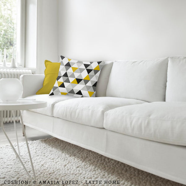 Triangles black, white and yellow pillow - Latte Design  - 3