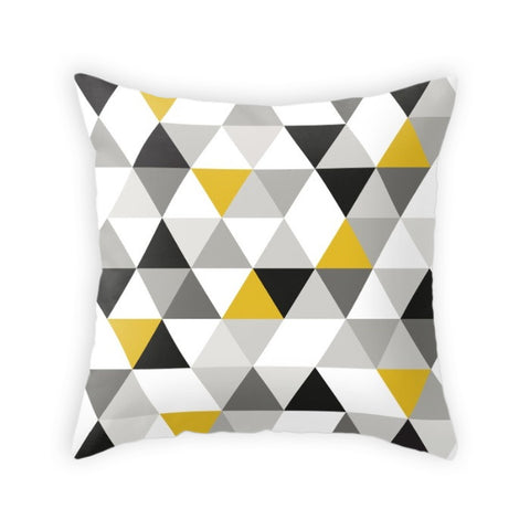 Triangles black, white and yellow pillow - Latte Design  - 1