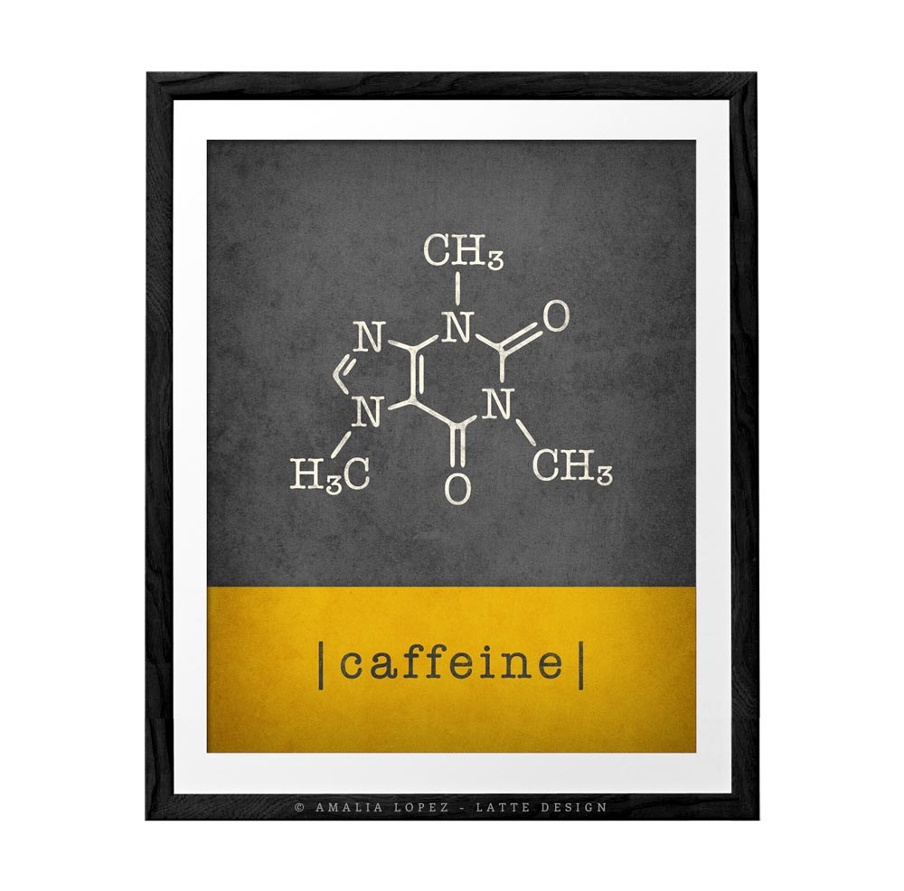 Caffeine molecule print. Grey and yellow Coffee print