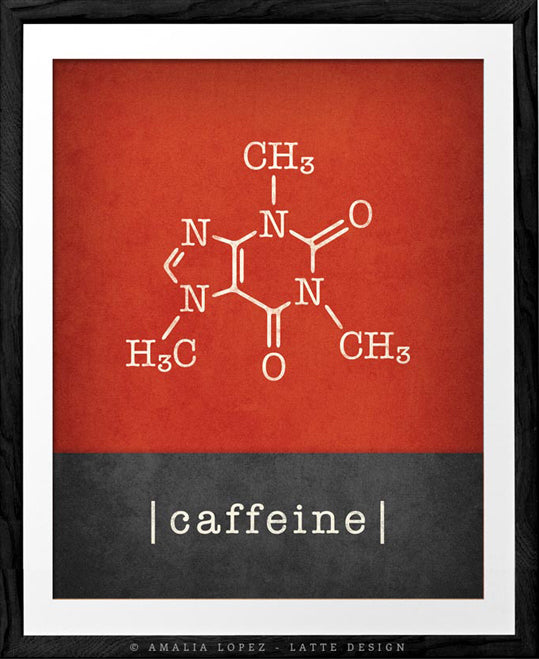 Caffeine molecule print. Red Coffee print - Latte Design