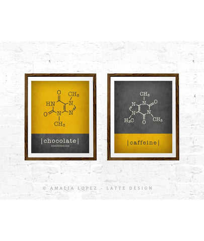 Set of 2 kitchen prints. Caffeine molecule & chocolate molecule. Yellow & Grey - Latte Design