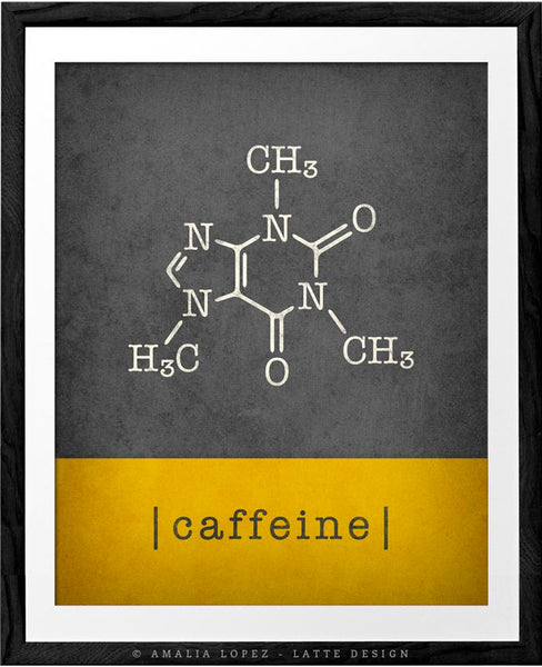 Set of 2 kitchen prints. Caffeine molecule & chocolate molecule. Yellow & Grey - Latte Design  - 3