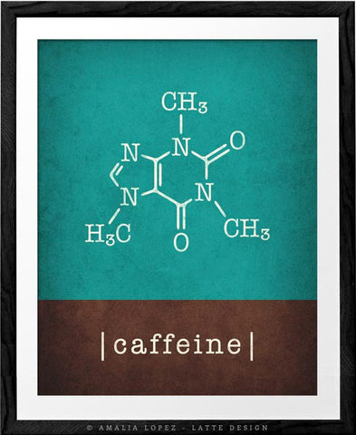 Caffeine molecule print. Teal and brown Coffee print