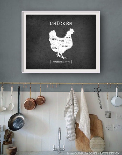 Chicken Traditional butcher print. Black & white kitchen print