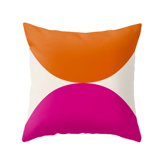 2 Circles. Orange and Magenta geometric pillow - Latte Design  - 1