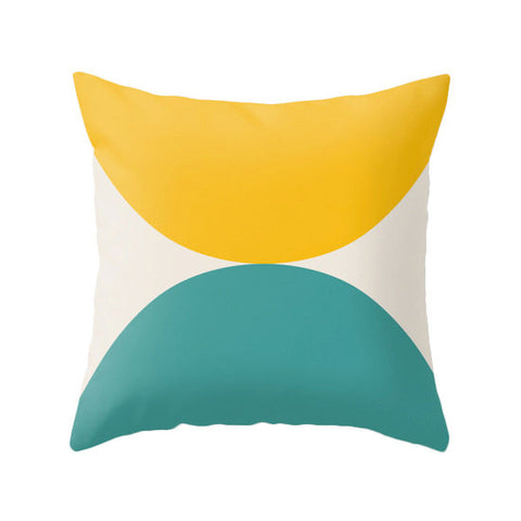 2 Circles. Yellow and Teal geometric cushion - Latte Design  - 1