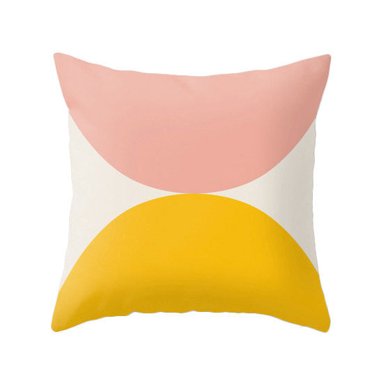 2 Circles. Orange and Magenta geometric pillow - Latte Design  - 3