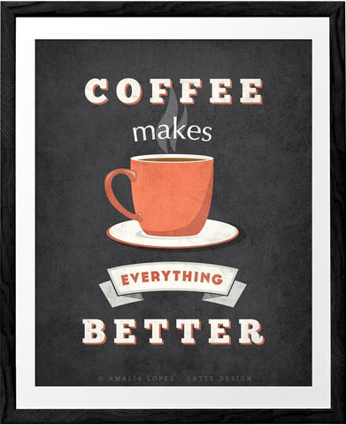Coffee makes everything better. Grey Coffee print