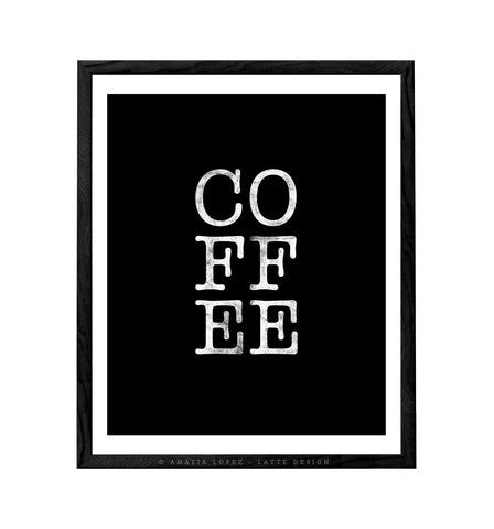 COFFEE. Black and white Coffee print