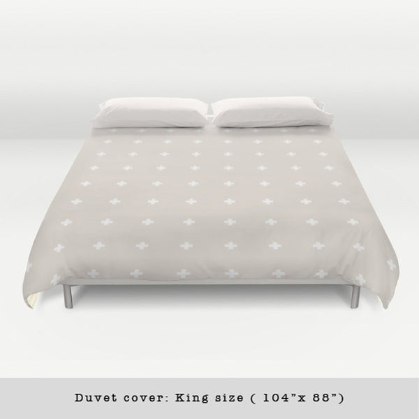 Swiss cross cream and white duvet cover - Latte Design  - 3