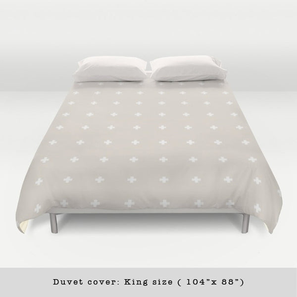 Swiss cross cream and white duvet cover - Latte Design  - 4