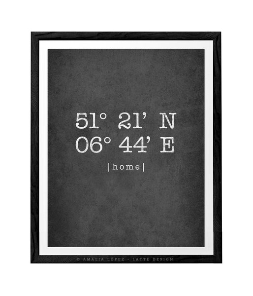 Black and white Custom Latitude and Longitude print