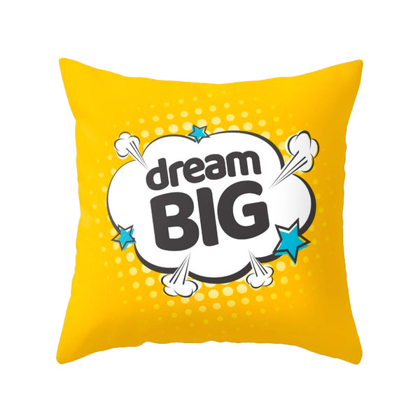 Dream big. Yellow Pop-art Nursery cushion
