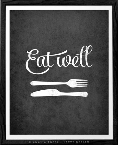 Eat well. Grey kitchen print