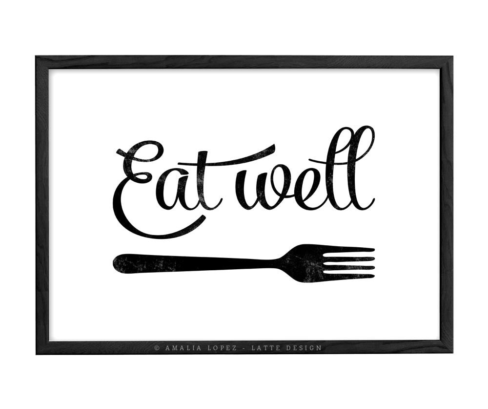 Eat well print black and white kitchen print latte design for Black kitchen wall decor