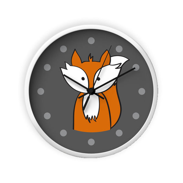 Fox wall clock. Nursery clock - Latte Design  - 6