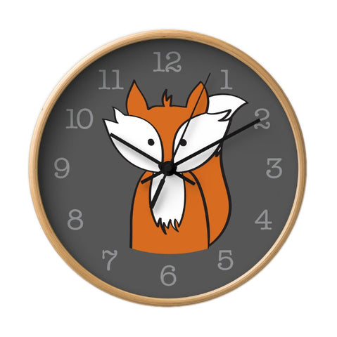 Fox wall clock. Nursery clock - Latte Design  - 1