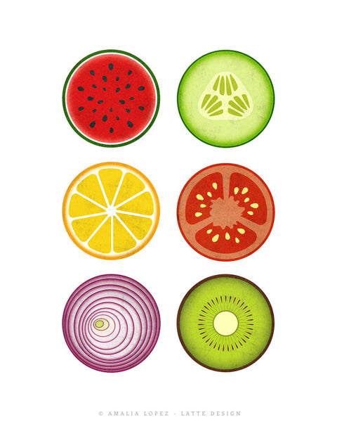 Fruit and vegetables print. Kitchen print