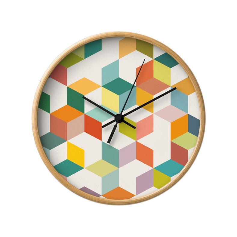 Geometric 3B. Geometric wall clock - Latte Design  - 1