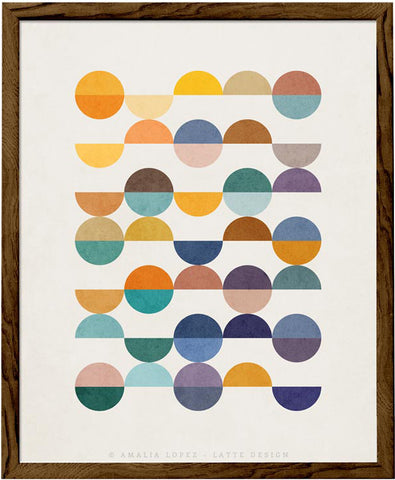 Equal Parts 2. Geometric print in orange and teal shades