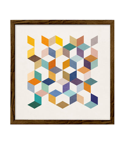 Geometric 2. Geometric print in orange and teal shades - Latte Design  - 1