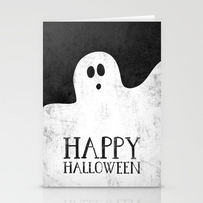 Ghost. Happy Halloween greeting card