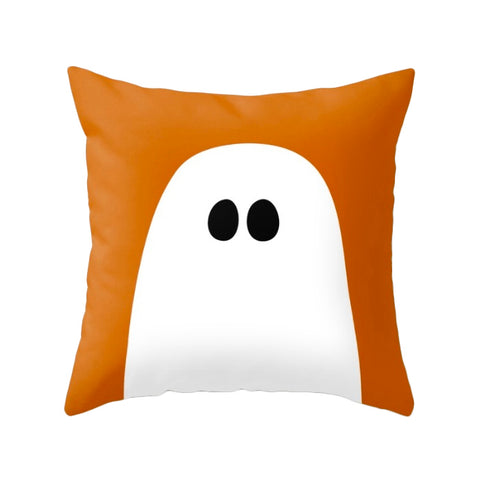Ghost. Orange Halloween cushion