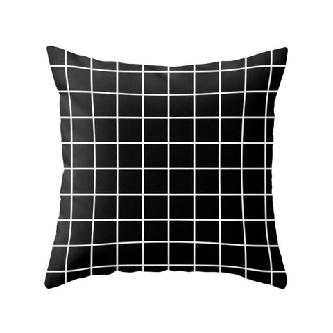 Black Grid pillow - Latte Design  - 1