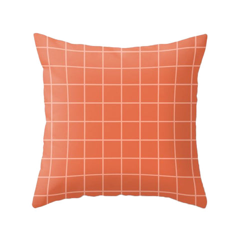 Terracotta orange Grid cushion