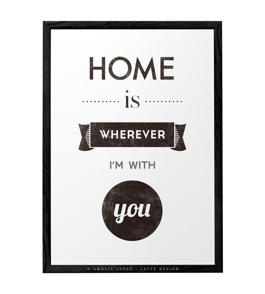 Love print. Quote print. Typography poster. Typographic print Inspirational print Blue print. Home is wherever I'm with you. Latte Design UK - Latte Design  - 6