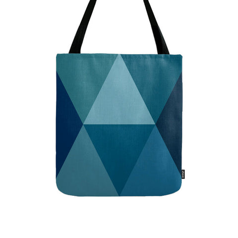Blue geometric tote bag