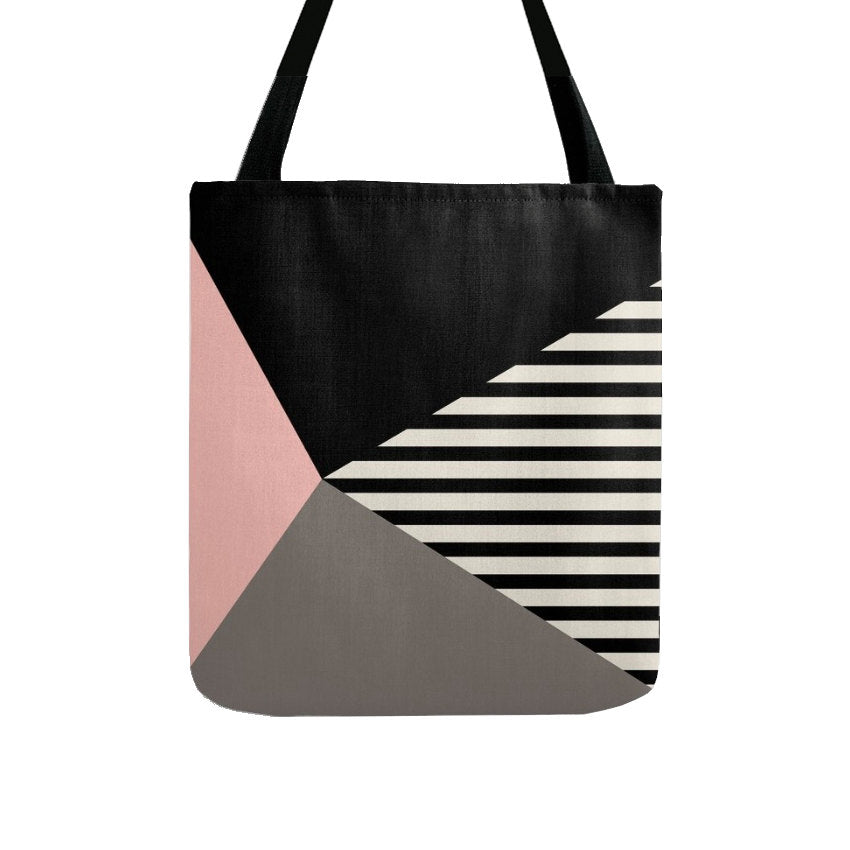 Geometric tote bag with stripes. Black and white