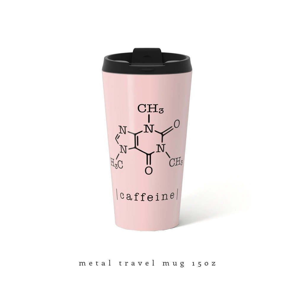 Caffeine mug. Pink metal travel mug