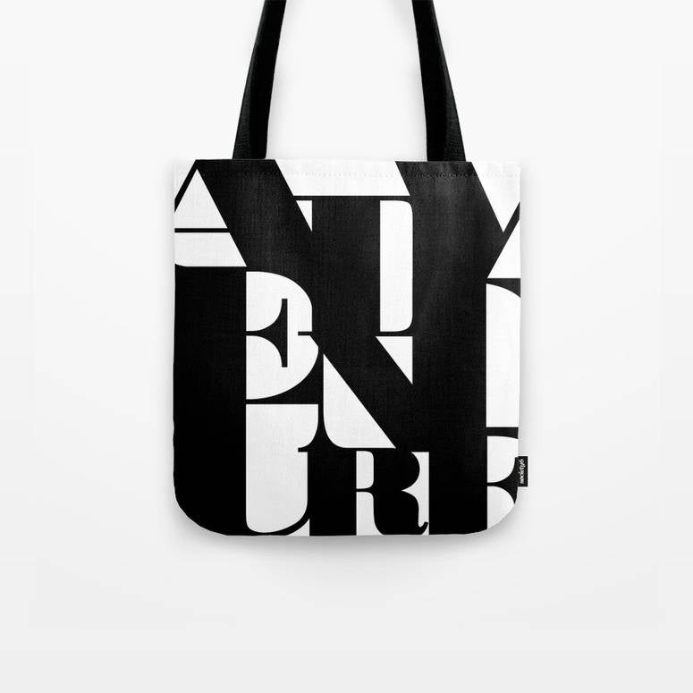 Adventure. Black and white typography tote bag