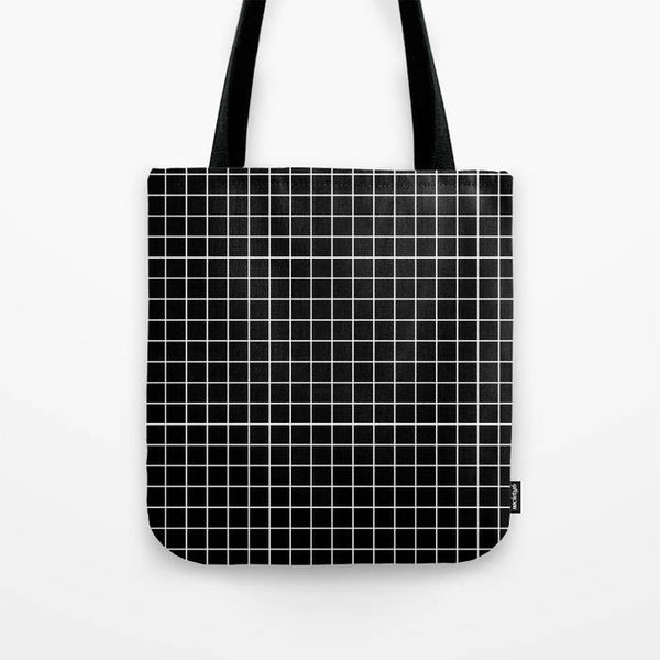 Black and white grid tote bag
