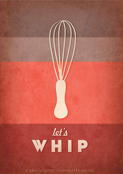 Let's whip. Red kitchen print - Latte Design  - 3