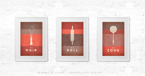 Let's cook print. Red kitchen print - Latte Design  - 5