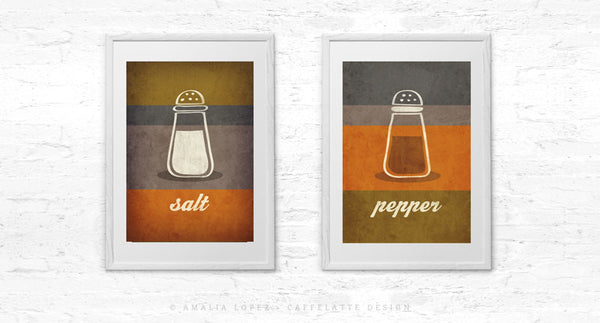 Salt and pepper SET of TWO kitchen prints salt print salt poster grey kitchen decor grey kitchen wall art grey print grey kitchen print - Latte Design  - 4
