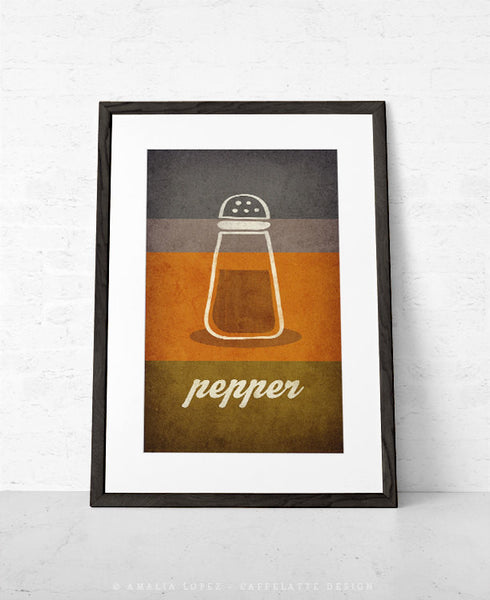 Salt and pepper SET of TWO kitchen prints salt print salt poster grey kitchen decor grey kitchen wall art grey print grey kitchen print - Latte Design  - 5