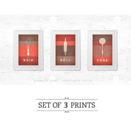 Set of 3 PRINTS. Red kitchen prints - Latte Design  - 1